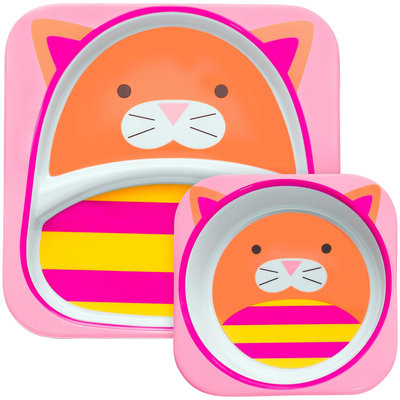 Skip Hop Zoo Melamine Plate and Bowl Set - Cat