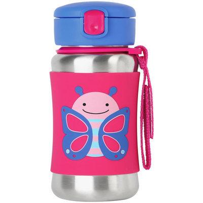 Skip Hop Zoo Stainless Steel Straw Bottle (Butterfly) - 12 oz