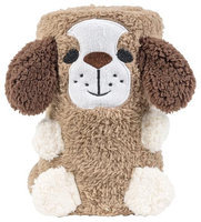 Tadpoles Animal Pals Rolled Sherpa Blanket - Percival Puppy