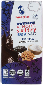Sweetriot Organic Chocolate Bar - riot Bar - 70 Percent Dark Chocolate - Awesome Almond Sultry Sea Salt - 3 oz Bars, (Pack of 12)
