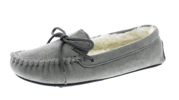 Gold Toe Women Faux Fur Lined Moccasin Slippers Shoes