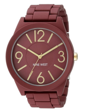 Nine West Women's Matte Burgundy Rubberized Metal Bracelet Watch