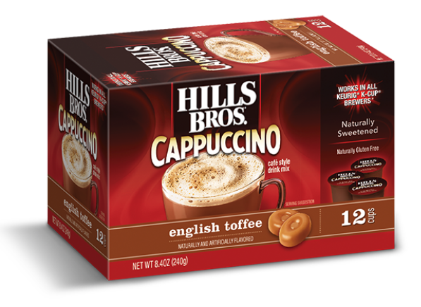 Hills Bros. Cappuccino Single Serve Cups, English Toffee