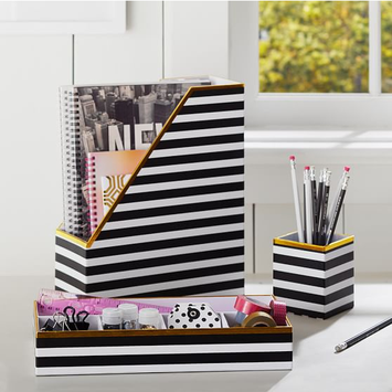 PB Teen Printed Desk Accessories- Black/White Stripe With Gold Trim
