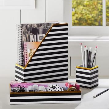 PB Teen Printed Desk Accessories- Black/White Stripe With Gold Trim