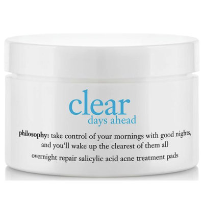 philosophy clear days ahead overnight repair salicylic acid acne treatment pads