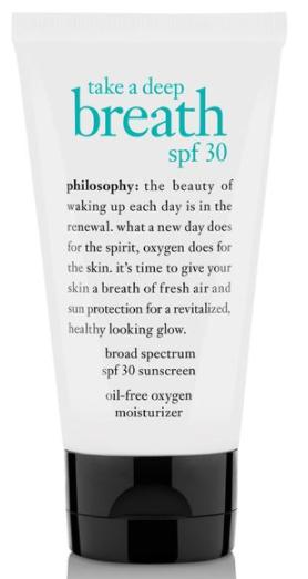 philosophy take a deep breath broad spectrum spf 30 sunscreen oil-free oxygen moisturizer
