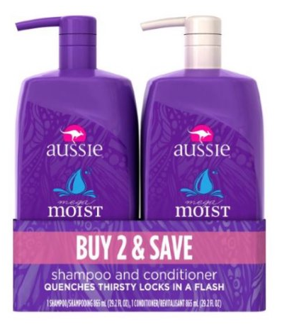 Aussie Mega Moist Shampoo and Conditioner Dual Pack
