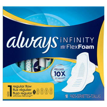Always Infinity Size 1 Regular Pads with Wings Unscented
