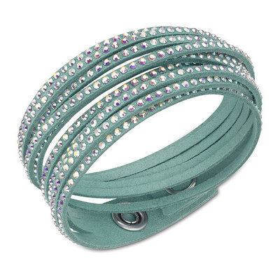 Swarovski® Light Green Alcantara® Aurore Boreale Crystals Slake Bracelet