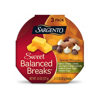 Sargento® Sweet Balanced Breaks® Natural Cheddar Cheese with Sea-Salted Roasted Almonds, Raisins and Greek Yogurt Flavored Drops