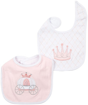 Baby Aspen 2-pk. Little Princess Crown & Carriage Bib Set - Baby Girl (Pink)