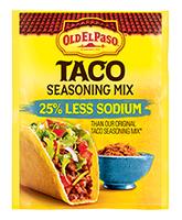 Old El Paso® 25% Less Sodium Taco Seasoning Mix