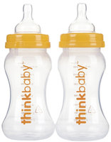 Thinkbaby Vented Baby Bottles - 9 oz - Orange - 2 Pk