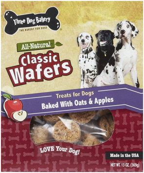 Three Dog Bakery Wafer Dog Treat Apple Oatmeal