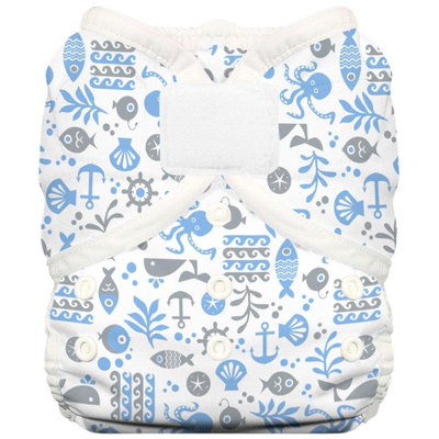 Thirsties Duo Wrap w/ Aplix - Size Two - Ocean Life