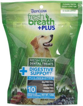 Tropiclean Fresh Breath Plus Regular Dental Treats - Digestive Support - 12oz