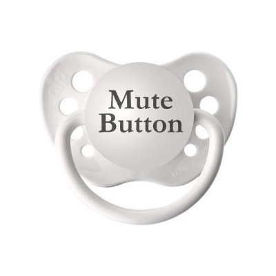 Personalized Pacifiers - Mute Button - White - 1 ct.