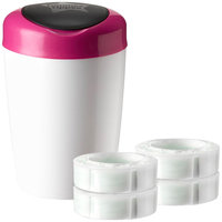 Tommee Tippee Simplee Diaper Pail + 4pk Cassette, Pink