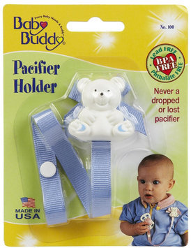Baby Buddy Bear Pacifier Holder Blue - Case of 18