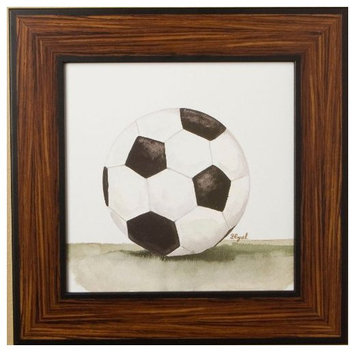 Green Frog Art Mac's Play Ball Series Print Framed - Soccer Ball