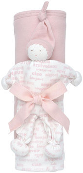 Under The Nile Hooded Blanket Toy Gift Set Hello, Pink