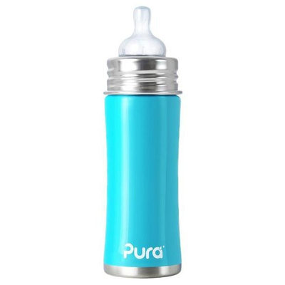 Pura Stainless Pura Kiki Infant Bottle Natural Vent Nipple - Aqua Blue - 11oz