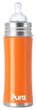 Pura Kiki Infant Bottle Natural Vent Nipple - Orange - 11oz