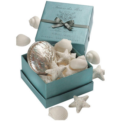 Gianna Rose Atelier Seashell Soaps in Polished Abalone Shell - White Honeysuckle and Baby Jasmine