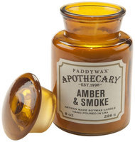 Paddywax Apothecary Collection Jar Candle, 8 oz, Amber And Smoke.