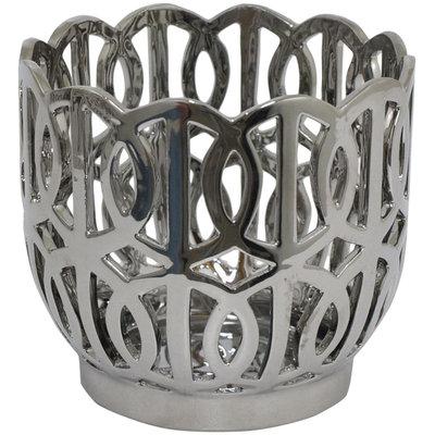 Three Hands Ceramic Deep Bowl, Silver