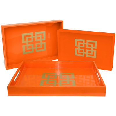 Three Hands Wood Tray Set of 3, Orange
