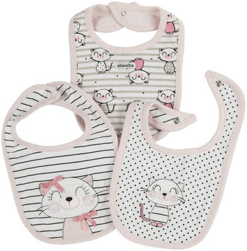 Absorba Kitty Cat 3 Pack Bibs (Baby) - White - 1 ct.
