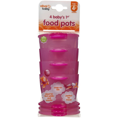 Vital Baby 1st Food Pots - Pink - 4 ct