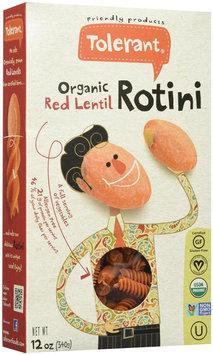 Tolerant Food Organic Red Lentil Rotini 12 oz - Vegan