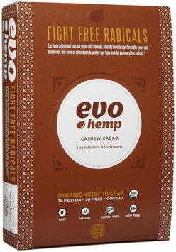 Evo Hemp - Organic Nutrition Raw Antioxidant Bar Cashew Cacao - 12 Bars