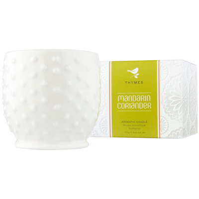Thymes Poured Candle, Hobnail, Mandarin Coriander