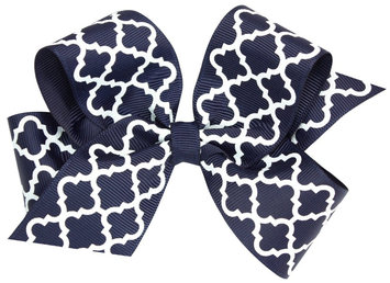 Wee Ones Medium Quatrefoil Bow-Navy - 1 ct.