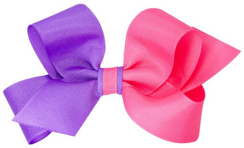 Wee Ones Medium Color Block Bow-Purple/Pink - 1 ct.