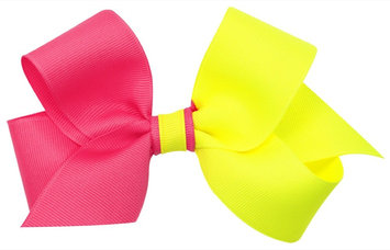 Wee Ones Medium Color Block Bow-Pink/Yellow - 1 ct.