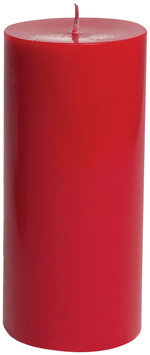 Entertaining with Caspari 6-Inch Round Pillar Unscented Candle, Red