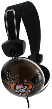 Pink Cookie Overhead Stereo Headphones - Heart Skull (Gray)