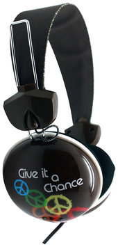 Pink Cookie Overhead Stereo Headphones - Give Peace A Chance