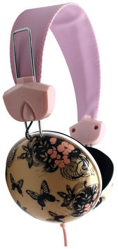 Pink Cookie Overhead Stereo Headphones - Butterflies