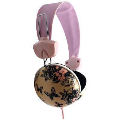 Pink Cookie Overhead Stereo Headphones - Butterflies
