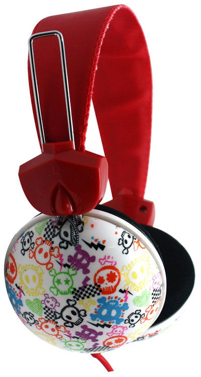 Pink Cookie Overhead Stereo Headphones - Skull (White)