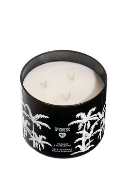 Victoria's Secret Pink Coconut And Palm Leaves Three Wick Candle