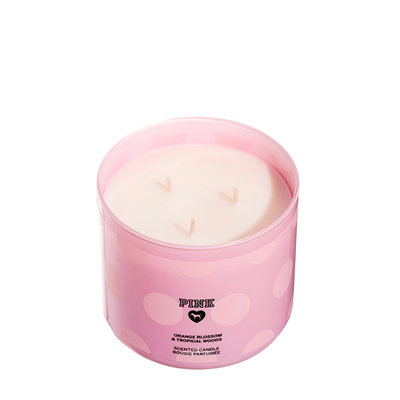 Victoria's Secret Pink Orange Blossom And Tropical Woods Three Wick Candle
