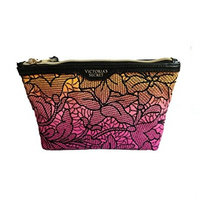 Victoria's Secret Embroidery Pink Ombre Floral Cosmetic Bag