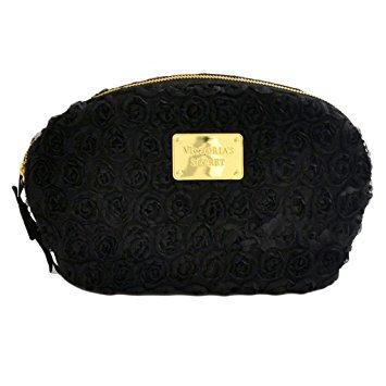 Victoria's Secret Black Satin Flowers Cosmetic Clutch Case